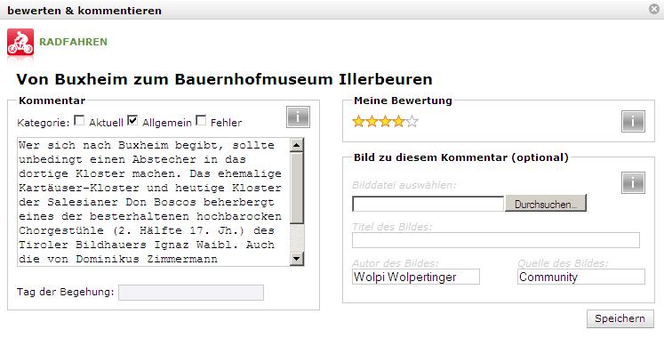 """Kommentar zur Radrunde """"Von Buxheim zum Bauernhofmuseum"""""""