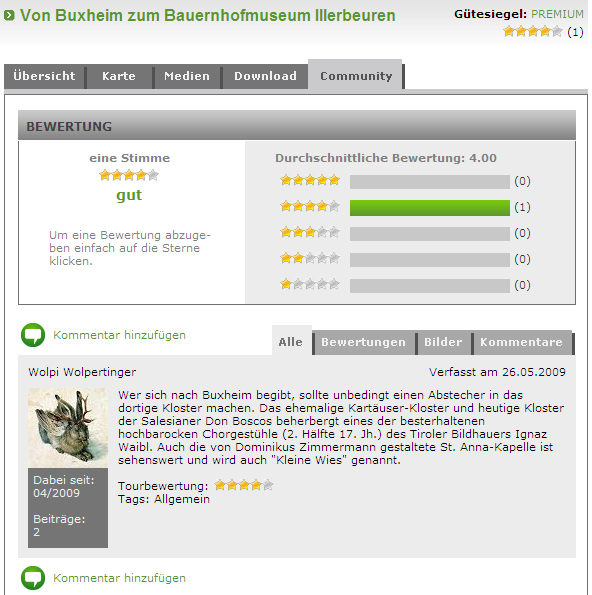 Darstellung von Kommentar und Bewertung auf www.outdooractive.com