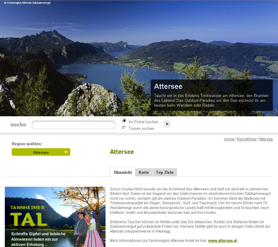 Neue österreichische Regionenseiten, hier: Attersee