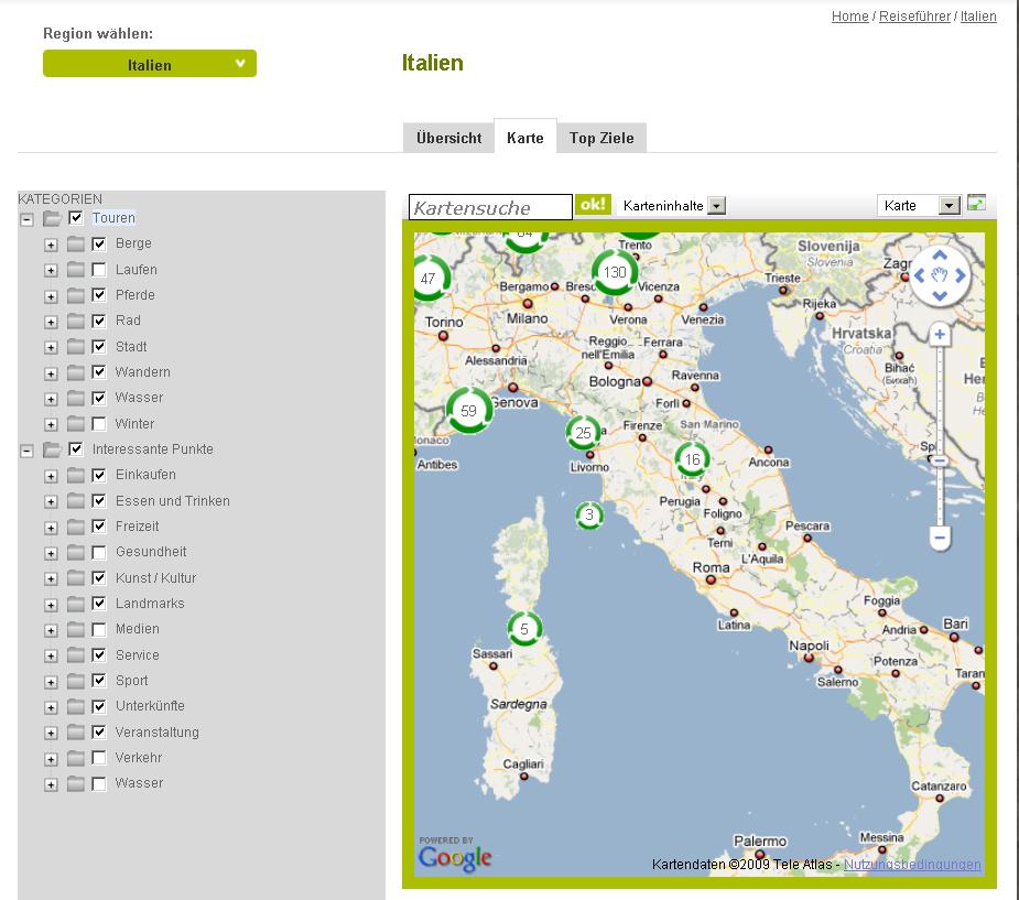 Italien-Karte mit zahlreichen Auswahlmöglichkeiten