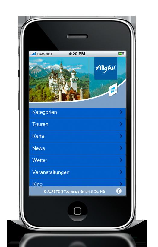 Startscreen der Allgäu-App