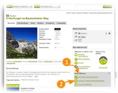 Tour2go, outdooractive.com-Karten in Webseite einbinden