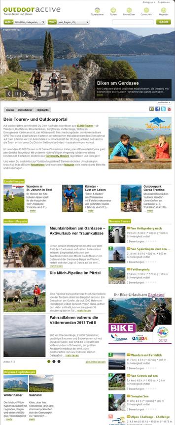 Die neue Startseite von outdooractive.com