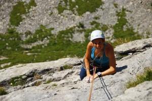 Über Grindelwald beim Alpinklettern