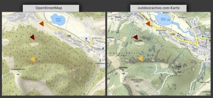OpenStreetMap vs. outdooractive.com