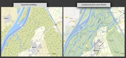 Mal da, mal nicht. Die Flüsse werden auf der OpenStreetMap nicht dargestellt.