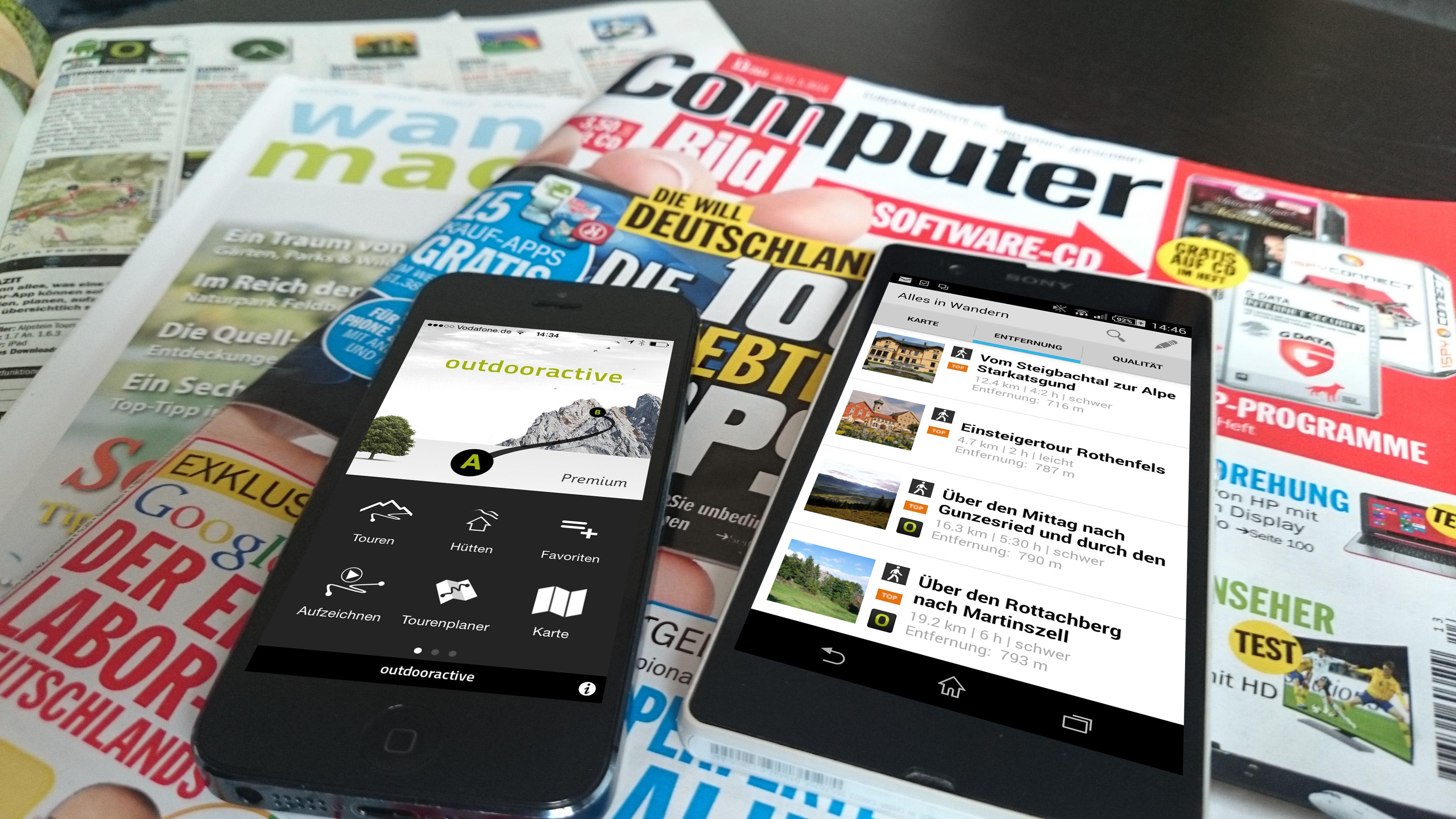 Platz 1 für unsere Outdooractive App bei COMPUTER BILD