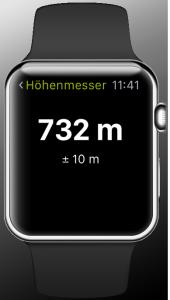 Outdooractive auf der Apple Watch . Der Höhenmesser