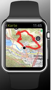 Die Outdooractive-Karte auf der Apple Watch