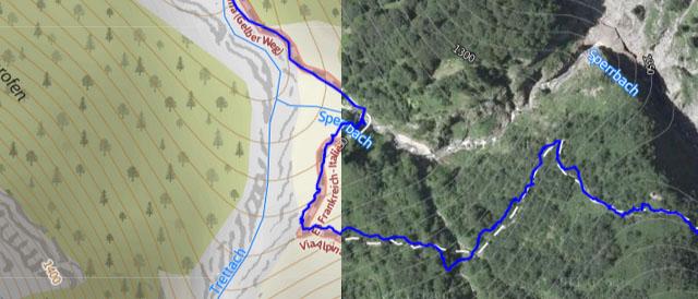 """Der Wegverlauf ist im Satellitenbild und der Karte identisch und entspricht der Realität (das kann man gut auf unserer HYBRID-Karte sehen). Der GPX-Track hingegen liegt über weite Strecken etwas abseits des Weges. Ein GPX-Track garantiert also nicht immer """"perfekte"""" Daten."""