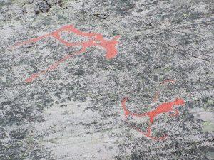 Skijäger in einer Höhle in Alta in Norwegen. Alter 2.000 - 7.000 Jahre