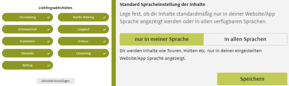 Lieblingsaktivitäten auf der Profilseite hinzufügen und bevorzugte Spracheinstellungen wählen in den allgemeinen Einstellungen