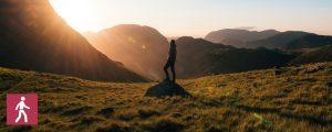 hiking man, sunset